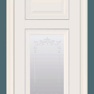 Шарм со стеклом сатин, молдингом и рисунком Цвет магнолия