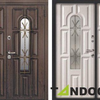 Фото Дверь входная металлическая двустворчатая «Венеция 2» венге