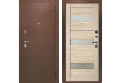 Фото Дверь входная металлическая «Прага» лиственница мокко
